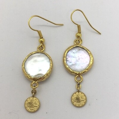 BE-15 Gold plated stone earrings