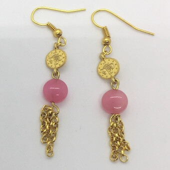 BE-18 Gold plated stone earrings