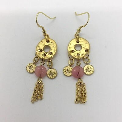 BE-22 Gold plated stone earrings