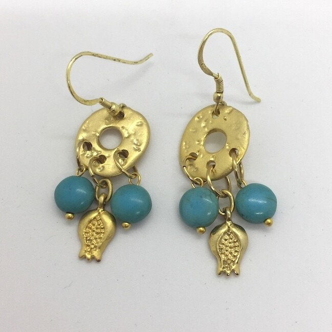 BE-23 Gold plated stone earrings