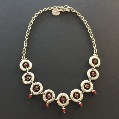 LHN-76 Red Silver plated stone jewellery