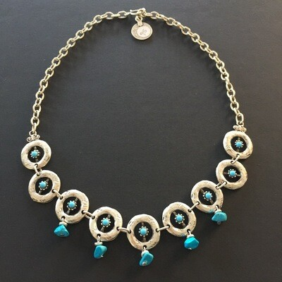 LHN-76 Blue Silver plated stone necklace
