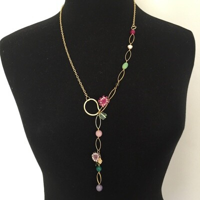 LHN-60 Gold plated stone necklace