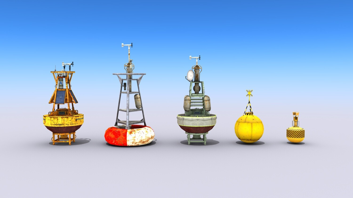 5 Ocean Buoys 3D Models Collection