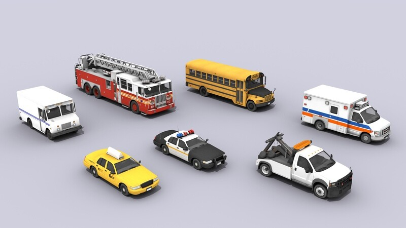 7 Service Vehicles 3D Models Collection