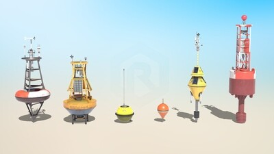 6 High-quality PBR Ocean Buoys 3D Models Collection
