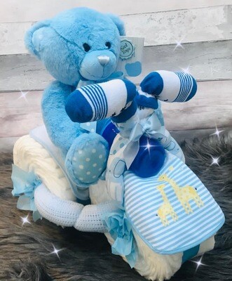 Baby Boy and Girl Nappy Tricycle - New Baby Gift Sets