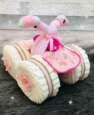 Boy & Girl Nappy Quad Bike - New Baby Gift Sets