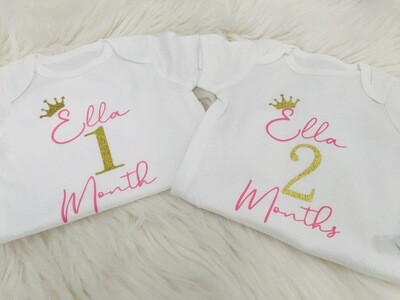 Royal Personalised Monthly Bodysuits