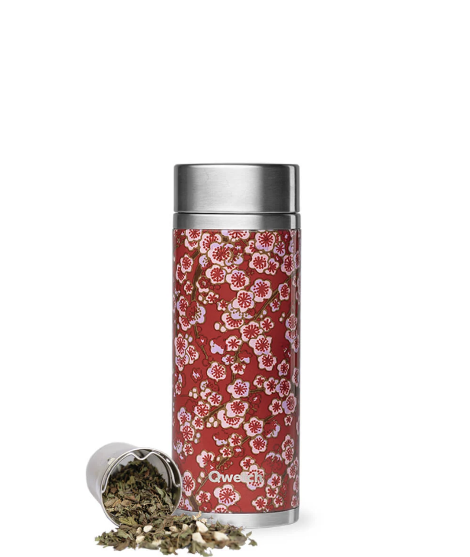 QWETCH - Théière Isotherme 300 ml - Flowers Rouge