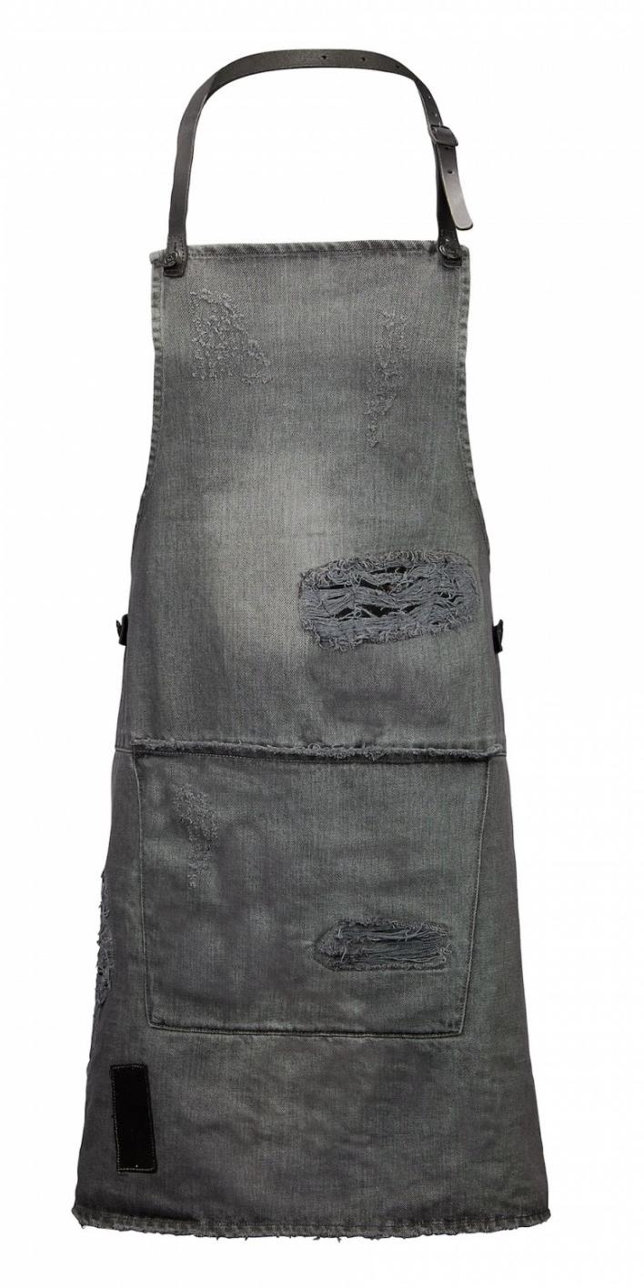 Apron BBQ Distressed denim grey