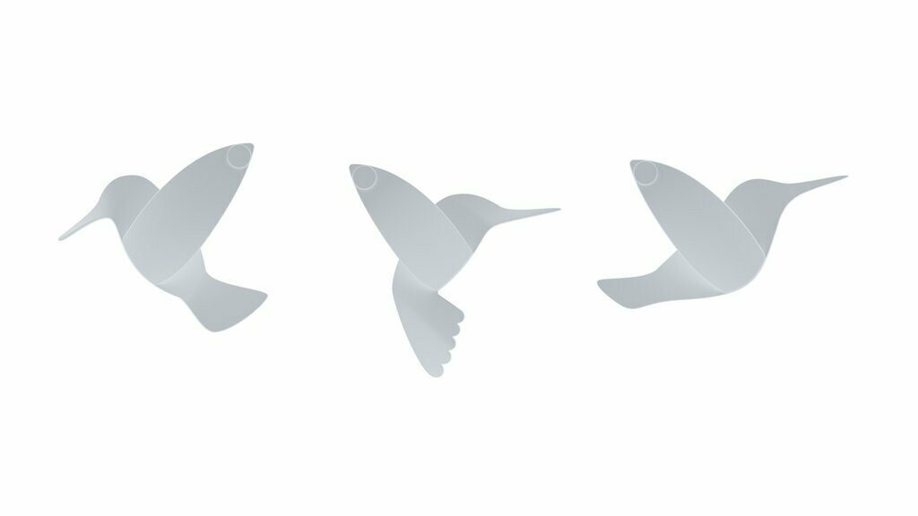 HUMMINGBIRD WALL DECOR WHITE