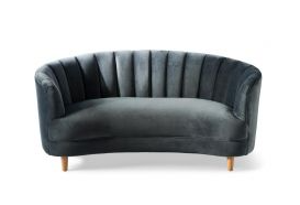 BEVERLY HILLS SOFA 2,5 PLACE VELOURS GRIS MINUIT