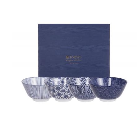 Nippon Blue Coffret de 4 Bol à riz
