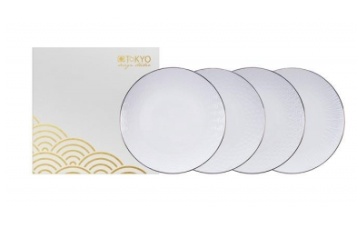 NIPPON WHITE COFFRET 4 ASSIETTES PRESENTATION D 30 cm