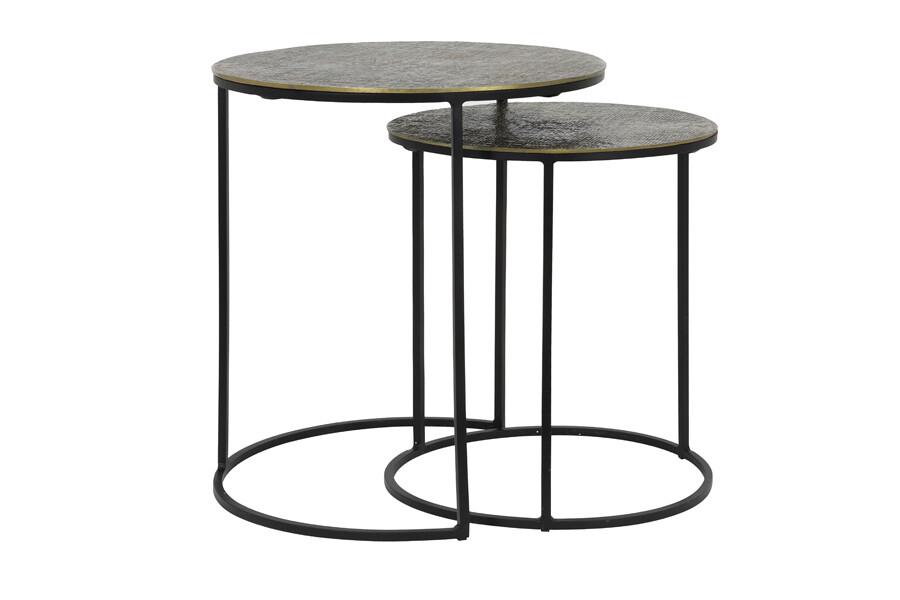 RENGO- Table d'appoint S/2 -Ø41x46+Ø49x52 cm - bronze antique