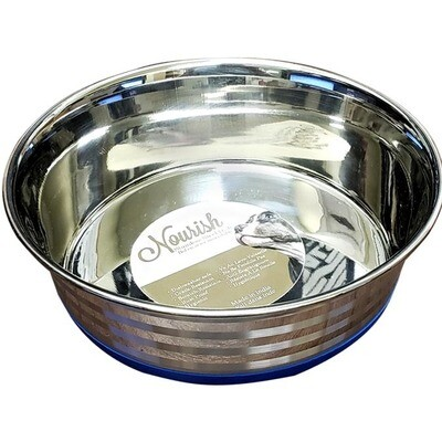 Nourish Heavy Stainless Steel Bowl Anti-Skid with Stripes