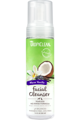 TropiClean Waterless Tearless Facial Cleanser Warm Vanilla 220ml