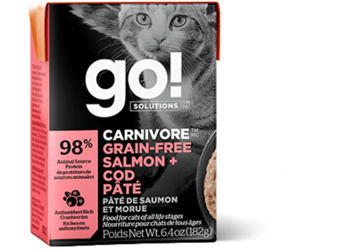 GO! Solutions Carnivore Cat Food Tetra Grain-Free Salmon & Cod Pate 182g (24pk)