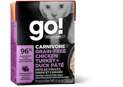 GO! Solutions Carnivore Cat Food Tetra Grain-Free Chicken, Turkey & Duck Pate 182g (24pk)
