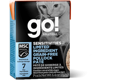 GO! Solutions Sensitivities Limited Ingredient Cat Food Tetra Grain-Free Pollock Pate 182g (24pk)