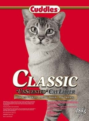 Cuddles Classic Unscented Non-Clumping Cat Litter 18kg