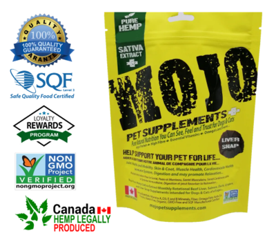 Mojo Pet Supplements Pure Hemp Sativa Extract Nutraceutical Beef Liver Snaps with CBD Oil 62g