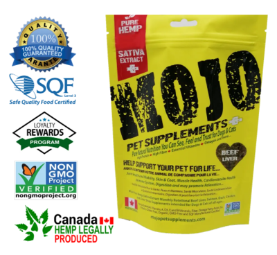 Mojo Pet Supplements Hemp Sativa Extract Nutraceutical Beef Liver with CBD Oil 186g