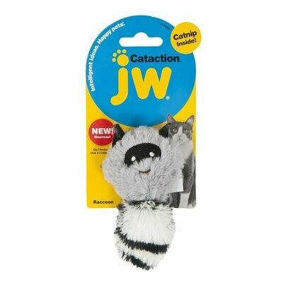 JW Cataction Plush Catnip Raccoon Toy