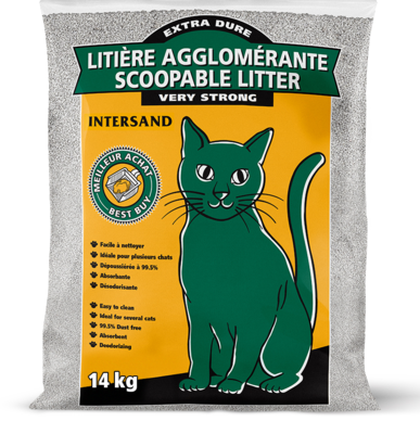 Intersand Green Cat Economy Clumping Unscented Litter 14kg