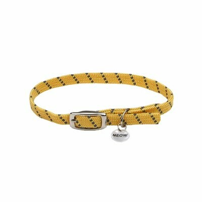 ElastaCat Reflective Safety Stretch Cat Collar with Reflective Charm 3/8 x 10