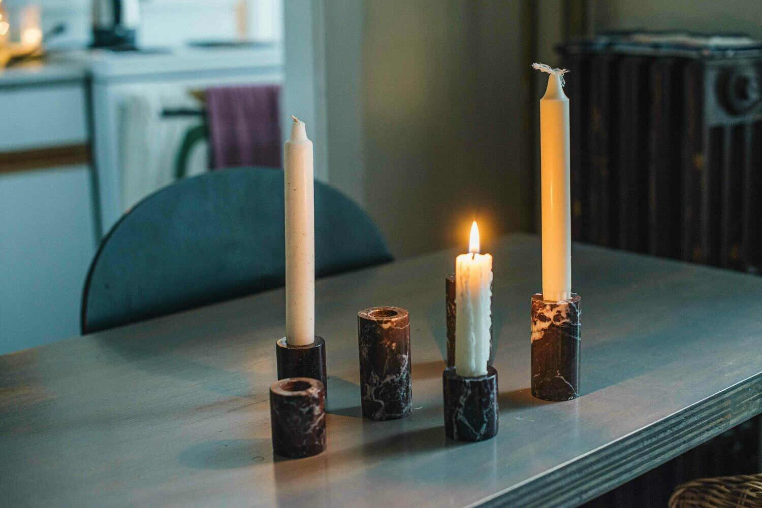 Red Marble Candle Holder (medium)