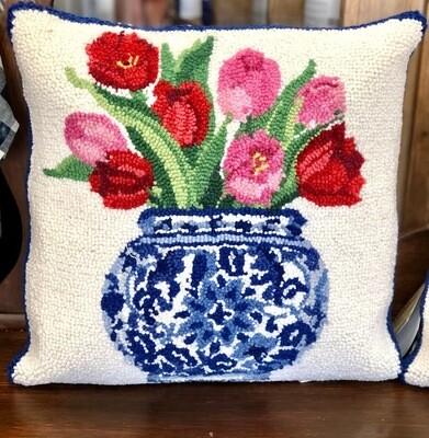 Ginger jar w/ tulips pillow (KI)