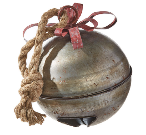 """9"""" Galvanized Bell with Ribbon"""