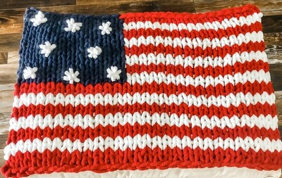 Chunky Knit USA Flag