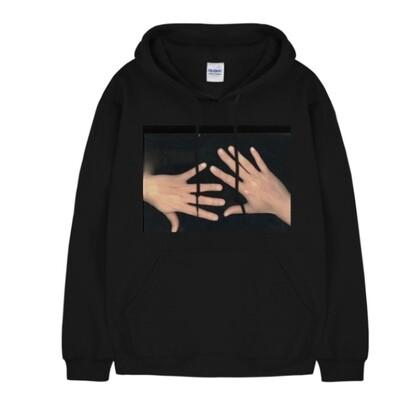 hands printed hood