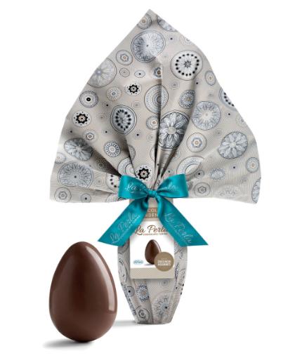 La Perla - Uovo di finissimo cioccolato al fondente 63% senza zuccheri aggiunti. 300g