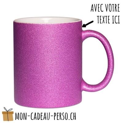 MUG personnalisé - Sublimation - à paillettes - Blanc / Purple