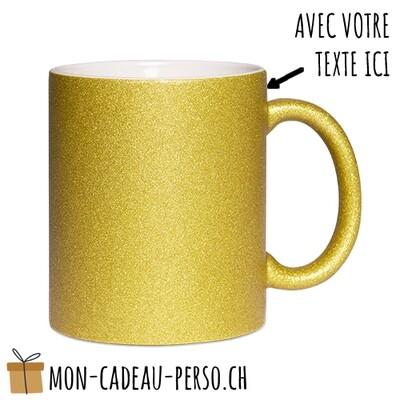 MUG personnalisé - Sublimation - à paillettes - Blanc / Gold