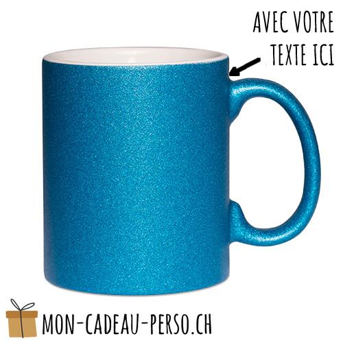 MUG personnalisé - Sublimation - à paillettes - Blanc / Bleu