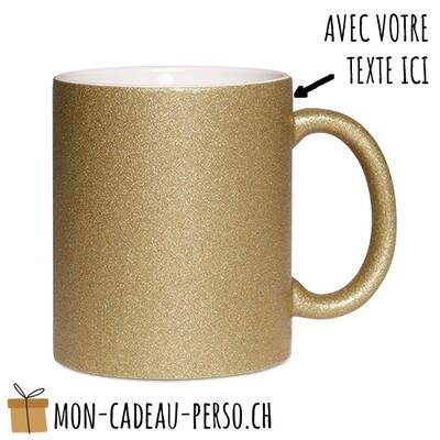 MUG personnalisé - Sublimation - à paillettes - Blanc / Dark Gold
