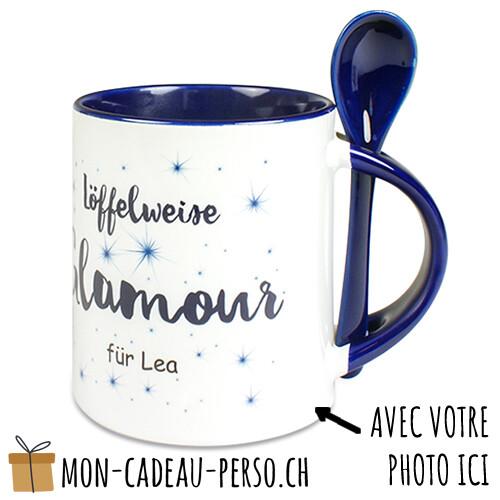 MUG personnalisé - Sublimation - Avec cuillère - Duraglas Brillant - Blanc / Bleu Foncé