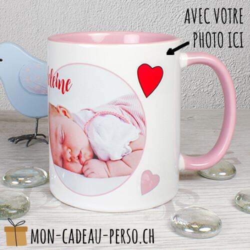 MUG personnalisé - Sublimation - Duraglas Brillant - Blanc / Rose