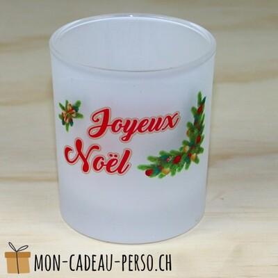 Bougeoir en verre Joyeux Noël - D70mm H80mm - Sublimation - Impression couleur
