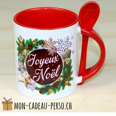 MUG Joyeux Noël - Sublimation - Avec cuillère - Duraglas Brillant - BICOLORE