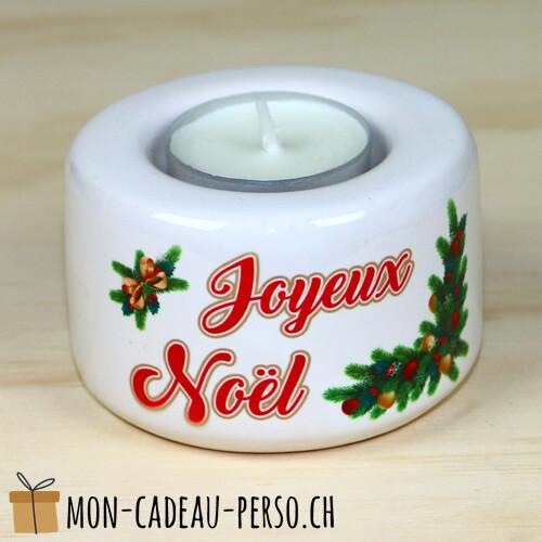 Bougeoir en céramique Joyeux Noël - D80mm H50mm - Sublimation - Impression couleur