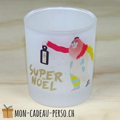 Bougeoir en verre SUPER NOËL - D70mm H80mm - Sublimation - Impression couleur
