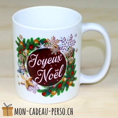 MUG Joyeux Noël - Sublimation - Duraglas Brillant - BLANC