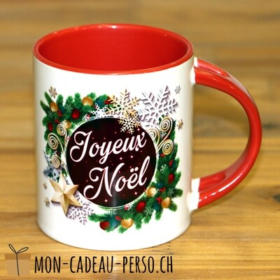 MUG Joyeux Noël - Sublimation - Duraglas Brillant - BICOLORE