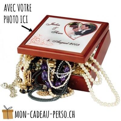 Boite à bijoux - 140x60mm - avec plaque en céramique personnalisée